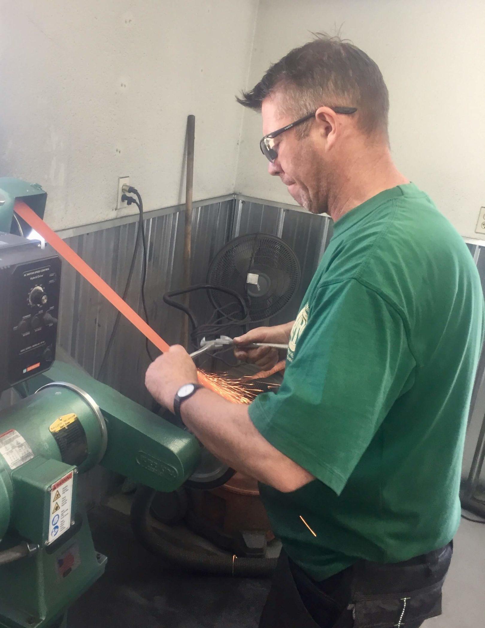 Mark Aikens rebuilding farrier tools